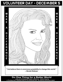 volunteer coloring pages - do one thing volunteer day december 5