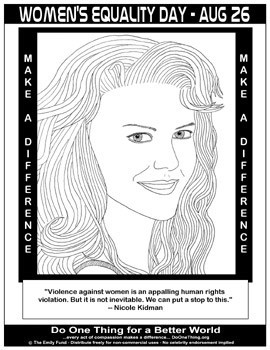 International womens day coloring pages ~ Do One Thing - Women's Equality Day - August 26